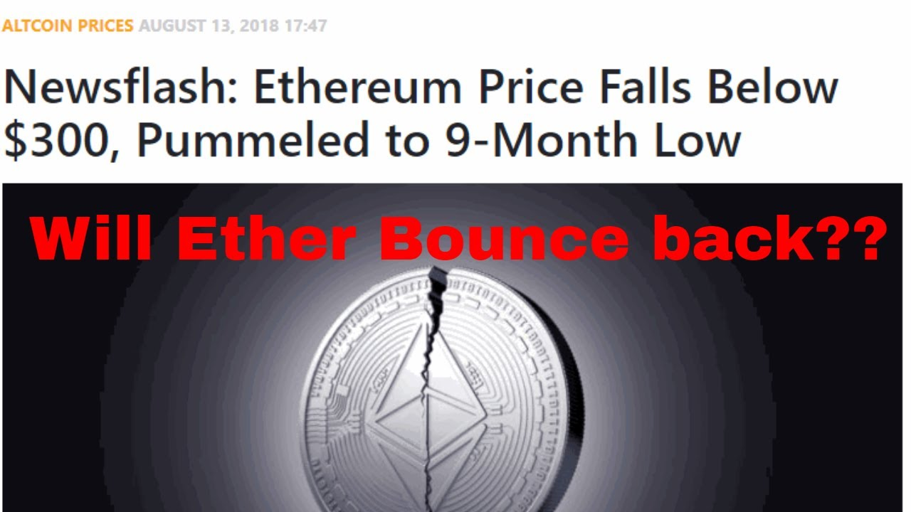 Ethereum Price Falls Below 300 Pummeled To 9 Month Lowicos Are