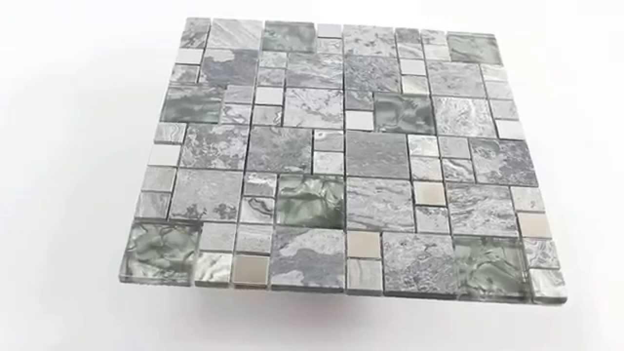 Mosaikfliesen Metall Glas Naturstein Mix Grau Silber