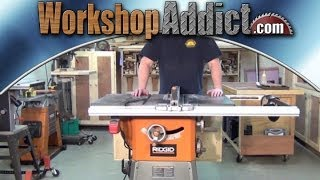Ridgid R4512 table saw folding outfeed table and 11 month Review.