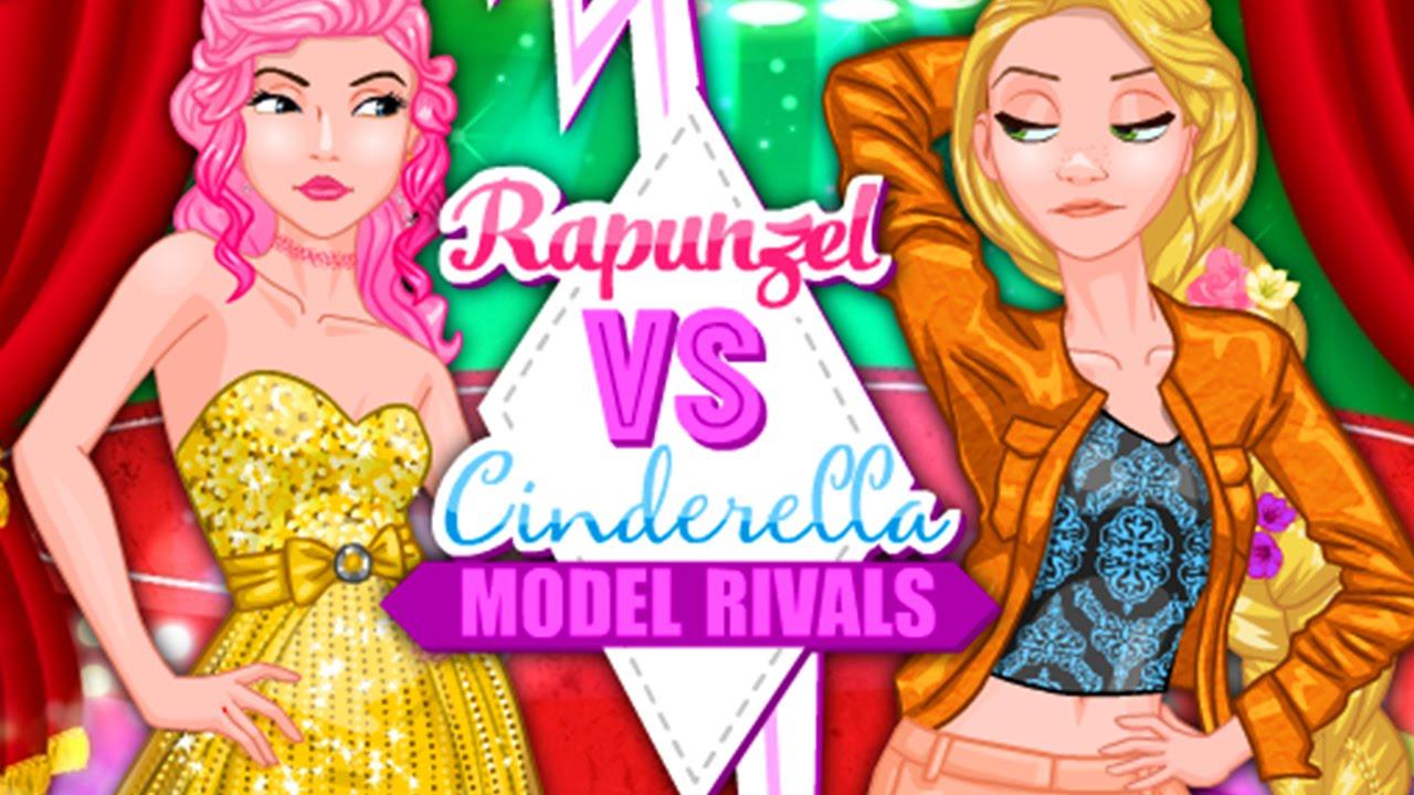 Disney Princess Rapunzel Vs Cinderella Model Fashion Rivals Dress Up Game For Kids & Girls
