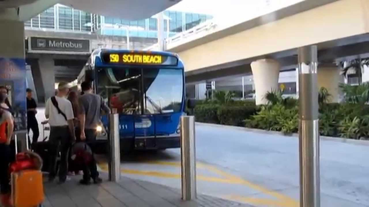 bus 150 from the airport miami to south beach. usa