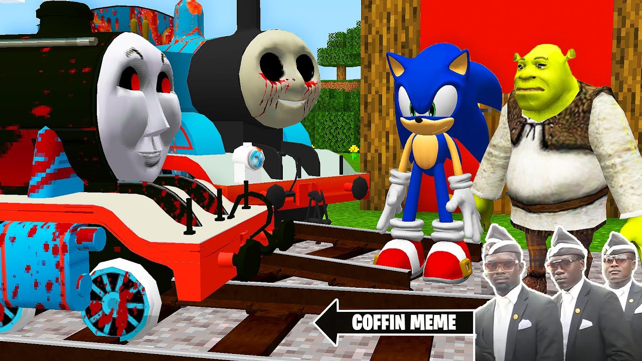 Download This is REAL THOMAS THE TANK ENGINE.EXE and FRIENDS vs SHREK and SONIC in Minecraft - Coffin Meme