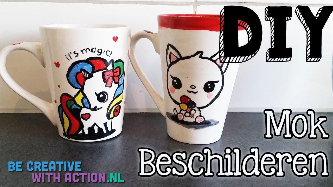 Beroemd DIY Handgeschilderde Mokken van De Action Maken BCWA - YouTube &DM56