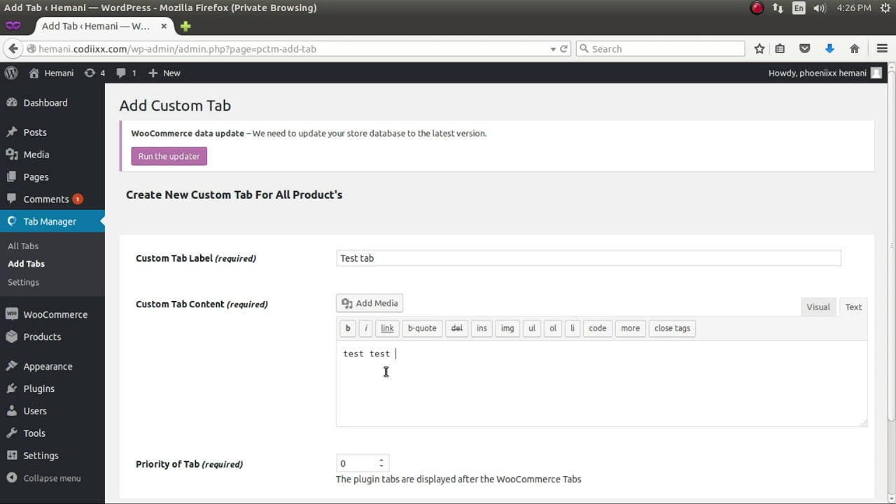 How to create up custom tab in product page in woocommerce