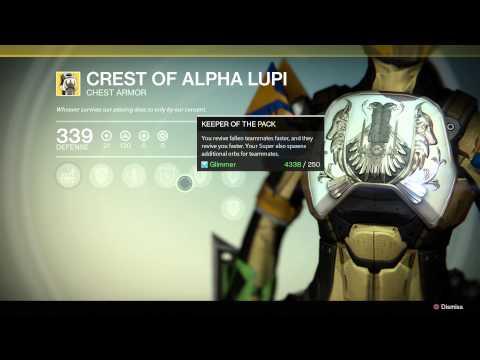 Destiny Exotic Chest Armor: Crest Of Alpha Lupi Titan