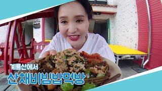 계룡산⛰에서 산채비빔밥먹방  在山吃播   酸菜拌饭 吃播