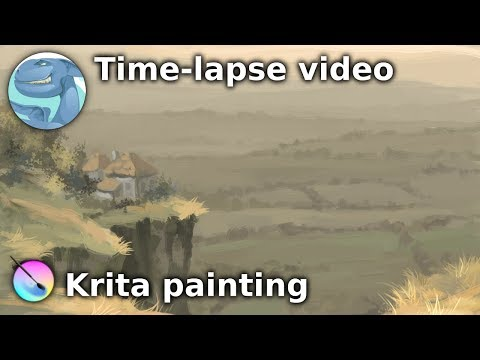 Landscape with a small house. Speed painting with Krita.