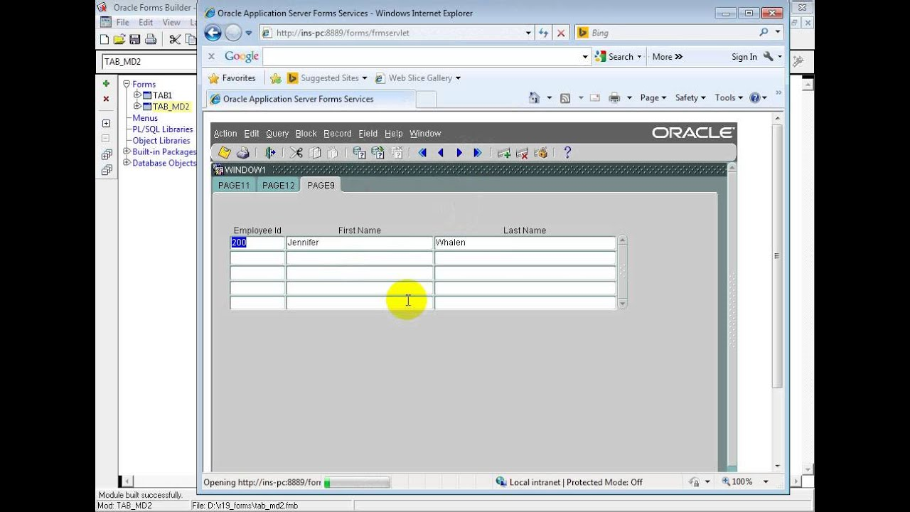 Oracle Forms Training Master Details with Tab Canvas