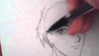 How to draw realistic manga hair for a boy character part 1