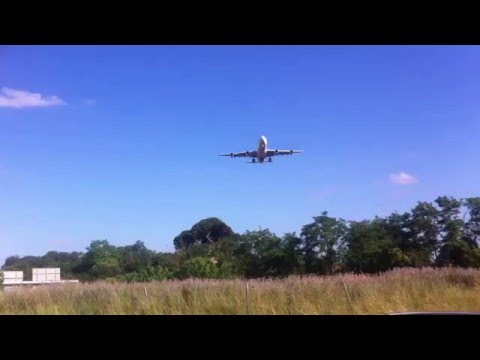 Landing of Airbus A340 from ground in Toulouse-Blagnac Airport
