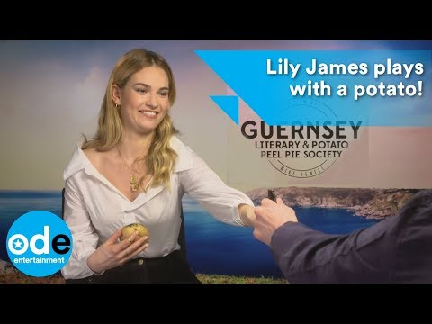 Lily James plays with a potato!