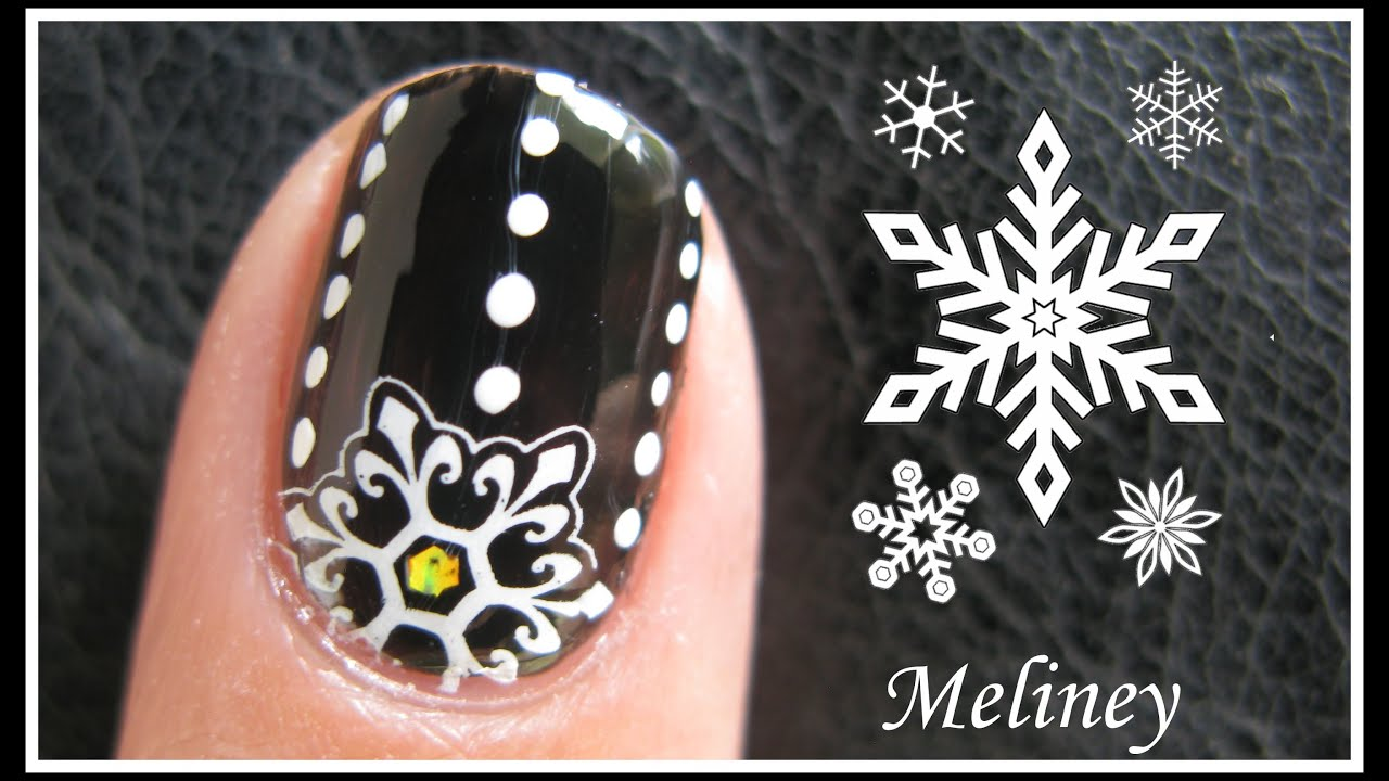 Winter snowflake nails holiday stamping nail art tutorial for winter snowflake nails holiday stamping nail art tutorial for short nails beginner simple black youtube prinsesfo Gallery