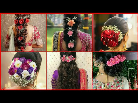 latest-gajra-hairstyle-for-wedding|flowers-hairstyle-design|bun-hairstyles-|indian-bridal-hairstyles