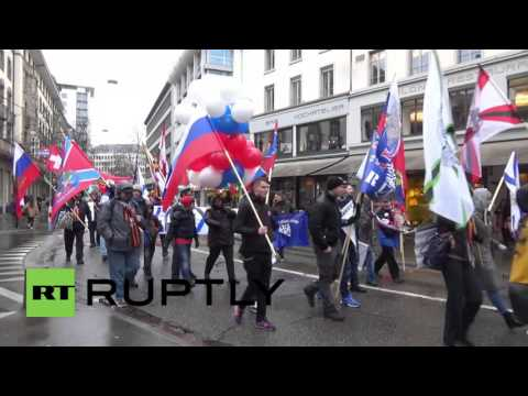 Switzerland: Pro-Russian protesters decry NATO aggression in Zurich