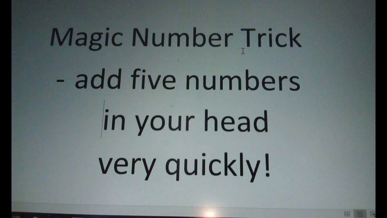 How to do a Simple Math Trick - Add Five Numbers Very Quickly ...