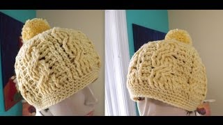 Repeat youtube video Crochet cable hat or beanie for adult - with Ruby Stedman