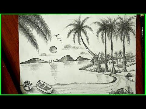 Landscape Drawing-Nature Art-Pencil Sketch-Easy for children -S.Nagender thumbnail
