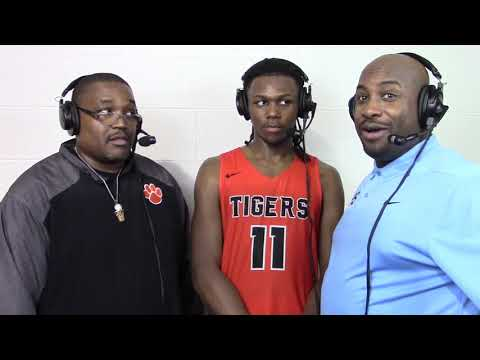 "SPS with Benton Harbor Coach Corey Sterling and Red Hawk Player of the Game Carlos ""Scooby"" Johnson"