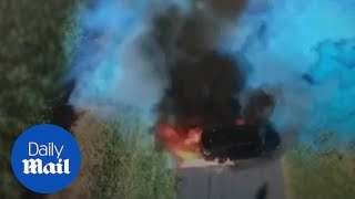 The dramatic moment a gender reveal stunt goes badly wrong