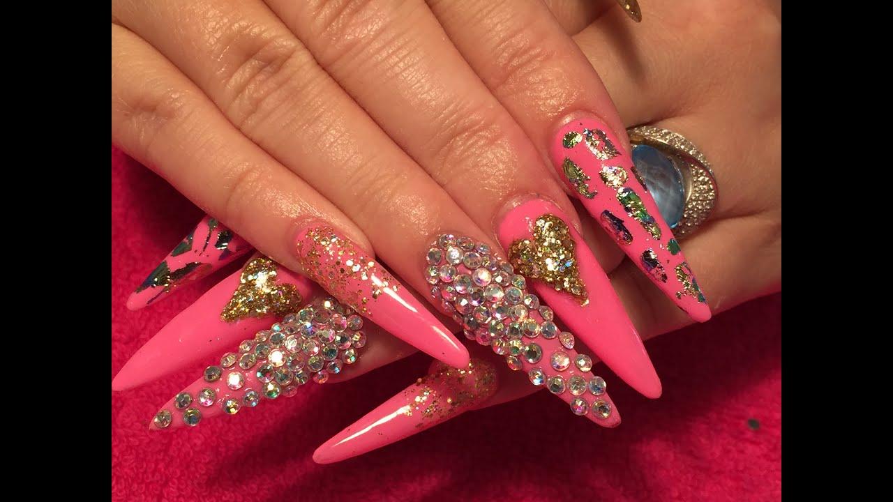 Acrylic Nails long stiletto using brillbird liquid and ...