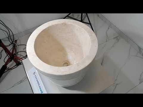 Lavabo a forma di secchio in marmo / pietra beige Ø 40 x h. 30 cm. - N. prodotto: 34254