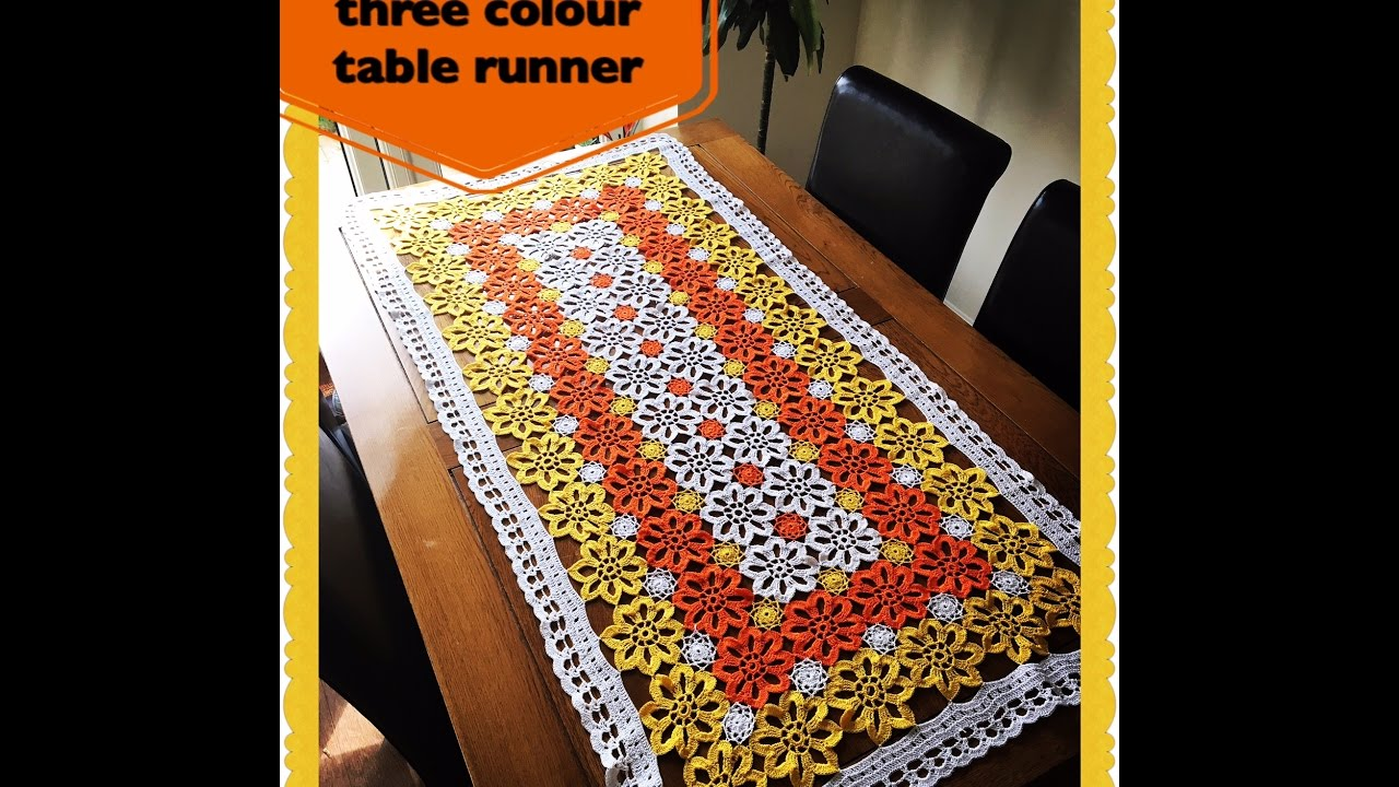 How To Crochet Three Colour Table Runner