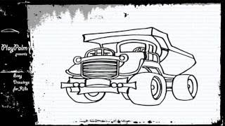 Mega Mining truck Drawing - How to draw a Truck CATERPILLAR 795F
