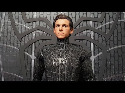 HOT TOYS SPIDER-MAN HOMECOMING TOM HOLLAND HEAD SCULPT ON THE BLACK SUIT FROM SPIDER-MAN 3
