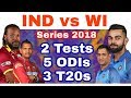 IND vs WI Series 2018 Schedule : 2 Tests,5 ODIs & 3 T20s match series just after Asia Cup 2018
