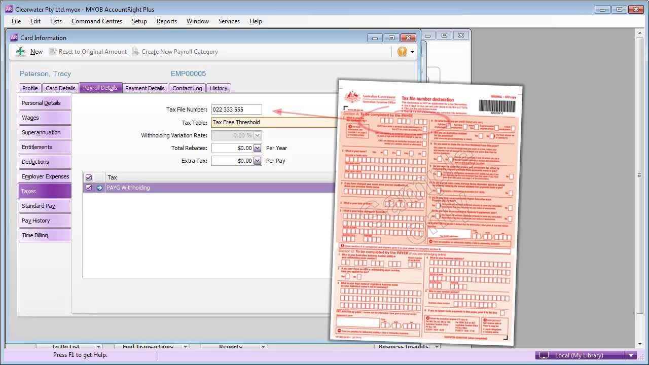 AccountRight Plus - How to set up employee payroll details - YouTube