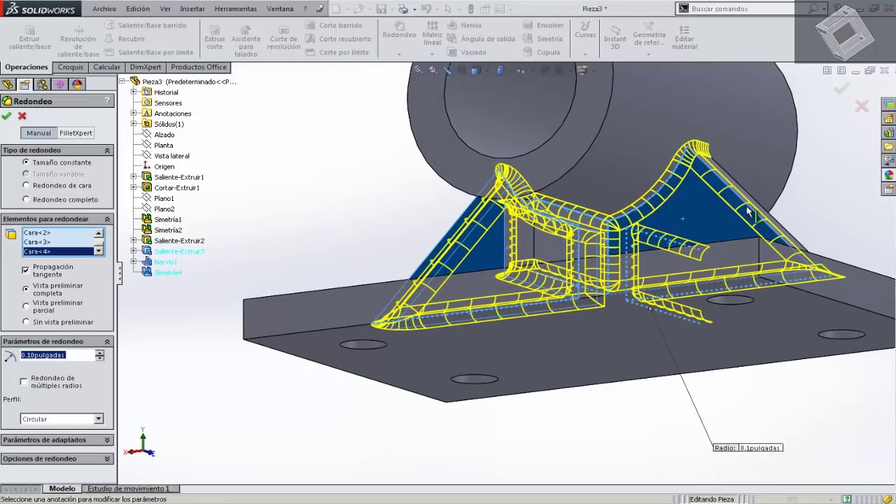 Apoyo de eje en solidworks 2014 youtube for Programa para dibujar planos