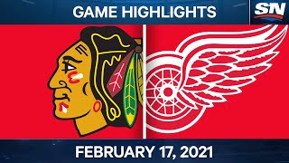 NHL Game Highlights | Blackhawks vs. Red Wings - Feb. 17, 2021