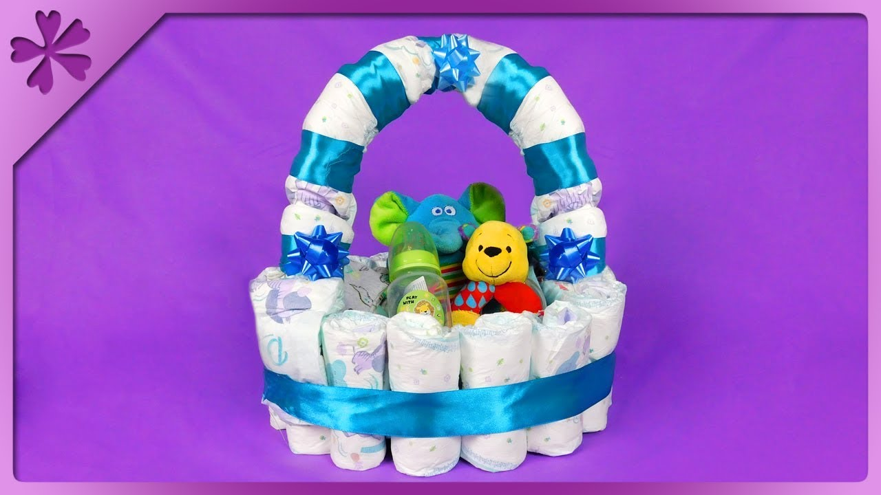 Diy How To Make Diaper Gift Basket For