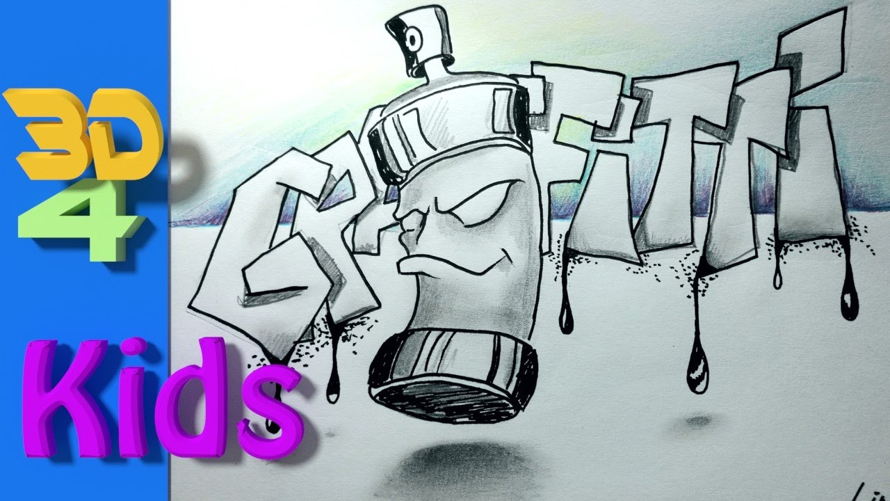 easy 3d for kids draw spraycan graffity letters 3d drawing 31 youtube