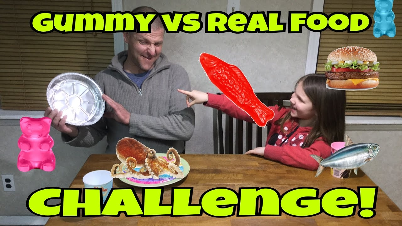 Gummy Vs Real Food Challenge Octopus Sardines Sushi