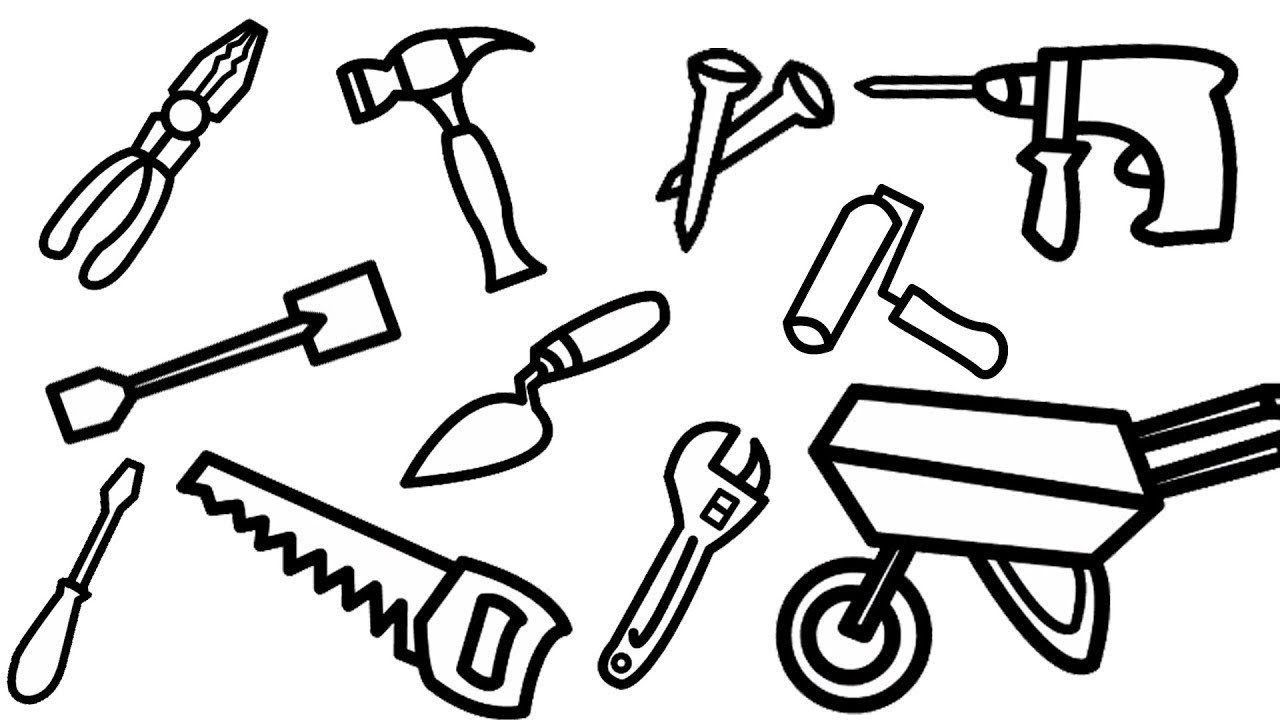 Construction Tools Drawing Amp Coloring Pages Learn Drawing