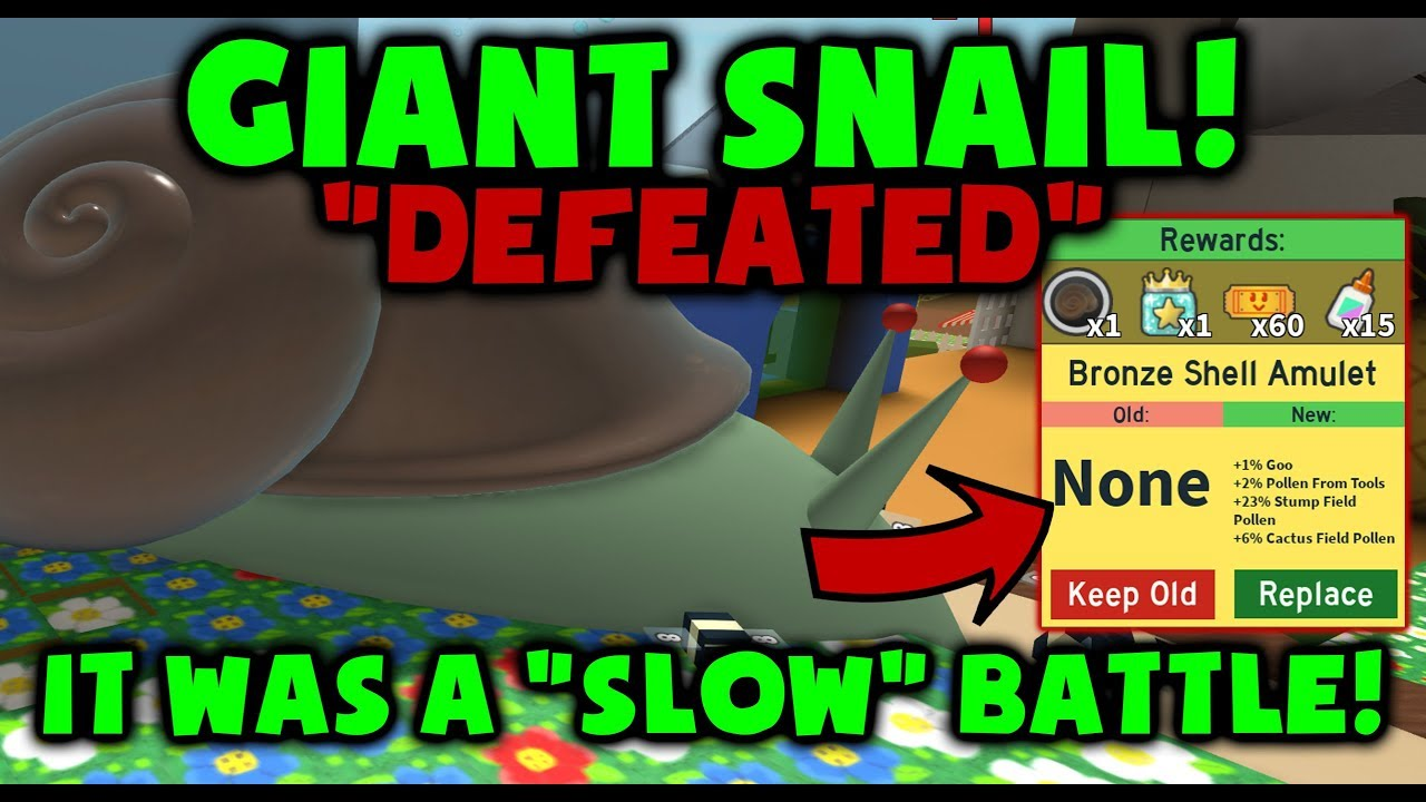 Boss Snail Defeated New Shell Amulet Bee Swarm Simulator Youtube