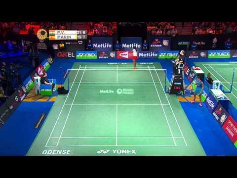 Yonex Denmark Open 2015 | Badminton SF M4-WS | P.V. Sindhu vs Carolina Marin