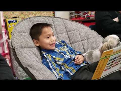 Fort Salonga Elementary School Brandon Reading to Woof