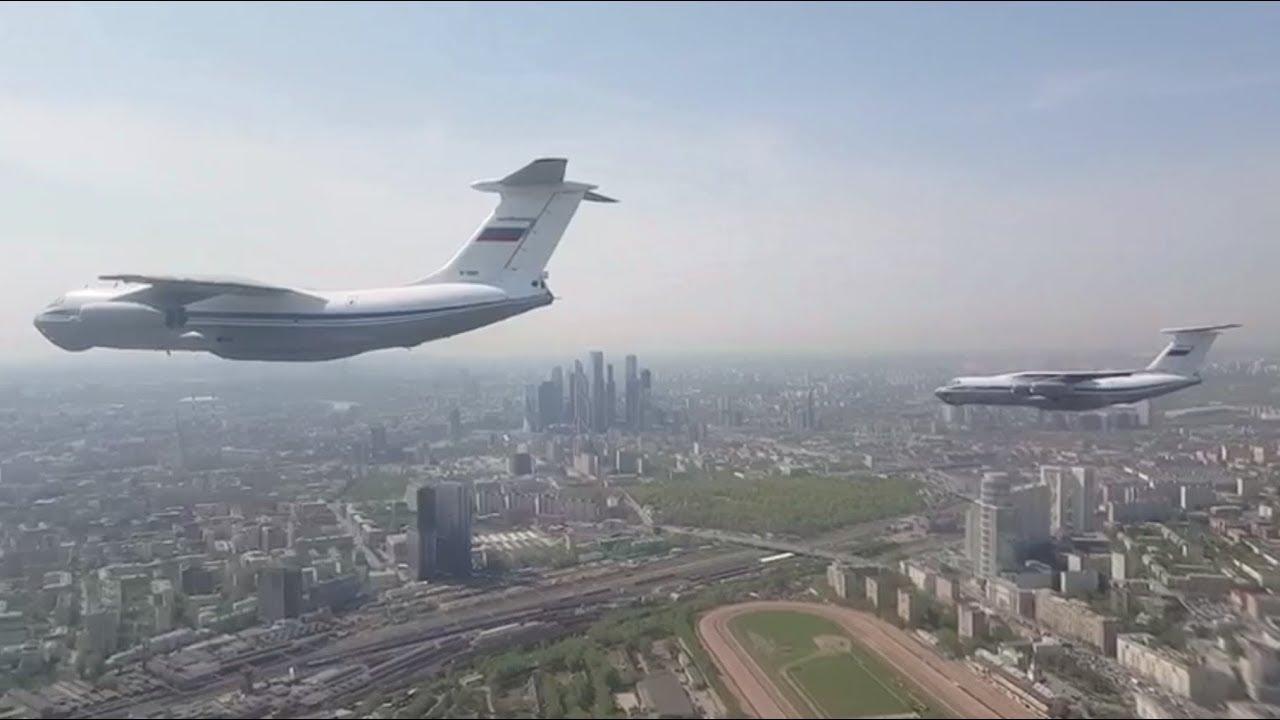 Вид из кабины модернизированного Ил-76: репетиция воздушной части парада Победы