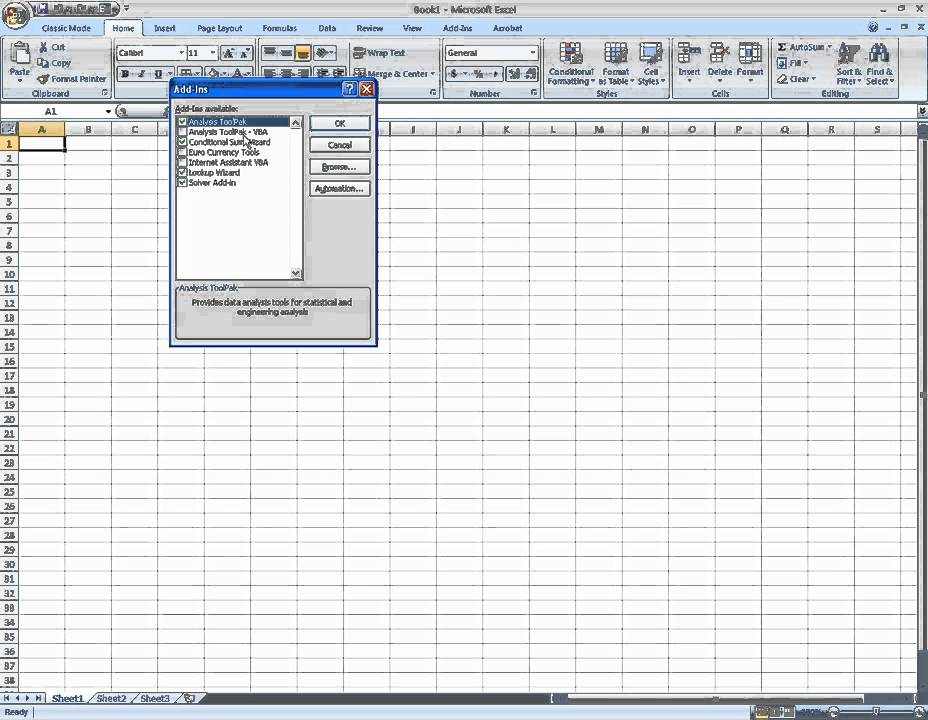 Installing The Microsoft Excel (2007) Data Analysis Toolpak Add In