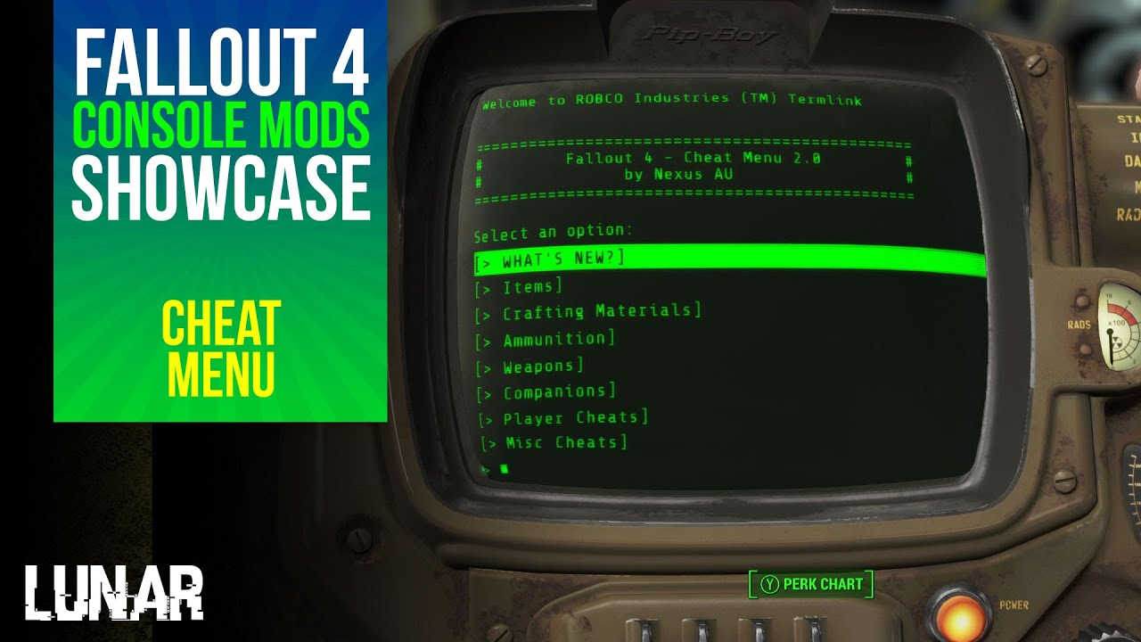 Fallout 4 console mods week 1 nexus cheat menu youtube - What consoles will fallout 4 be on ...