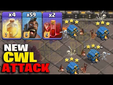 New CWL Attack 2019! 59 Hogs 2 Skeleton Spell 4 Heal Spell Smashing 3Star TH12 Base | Clash Of Clan