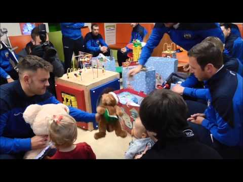 South Shields players deliver presents to South Tyneside District Hospital