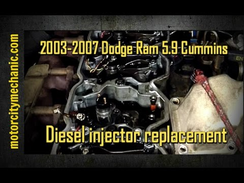 2003-2007 Dodge Ram 5.9 mins diesel injector replacement - YouTube on