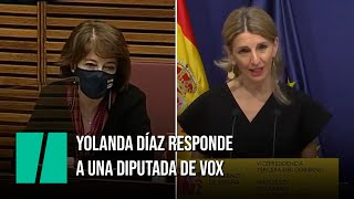 Yolanda Díaz responde a la diputada de Vox que dice que
