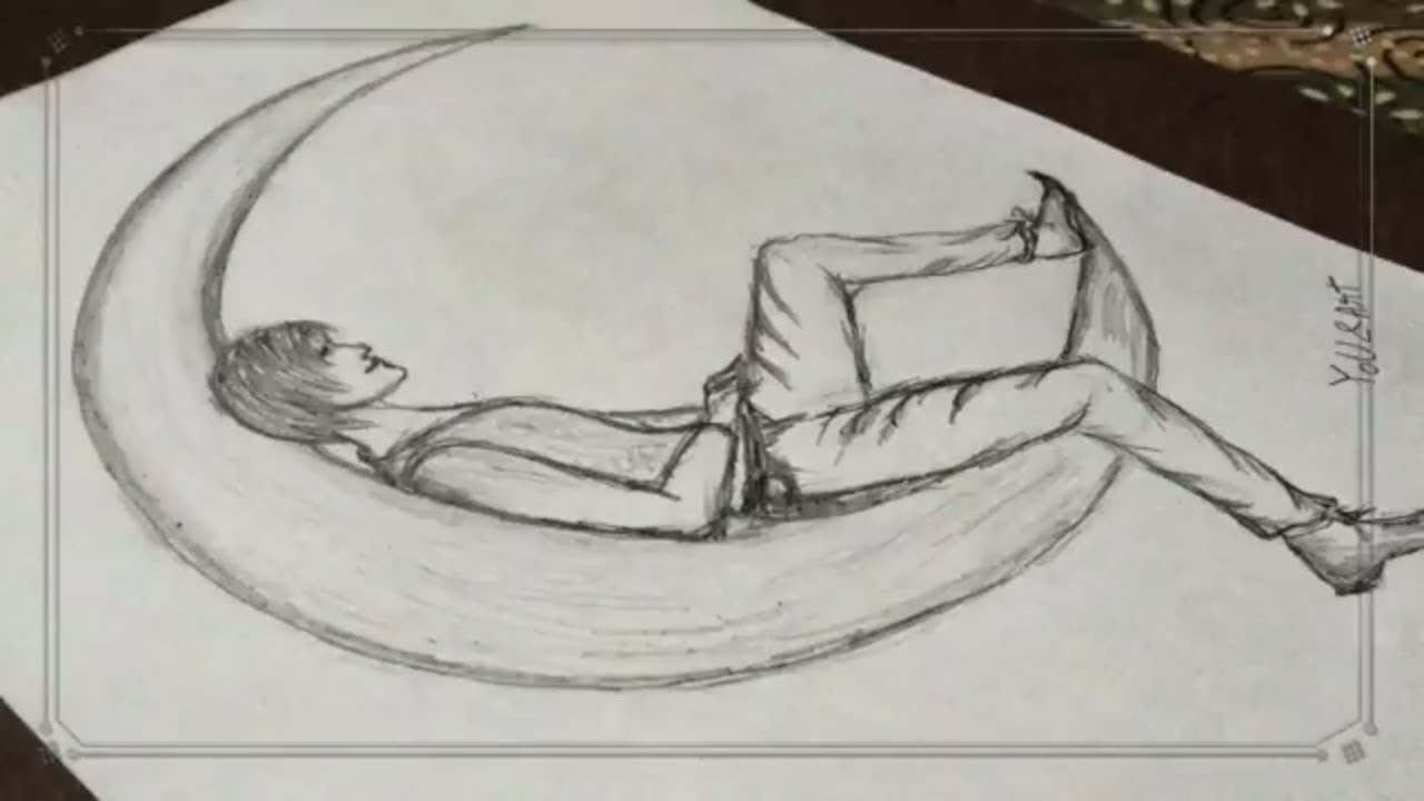 Seating Alone On The Moon Simple Pencils Drawing For You Youtube