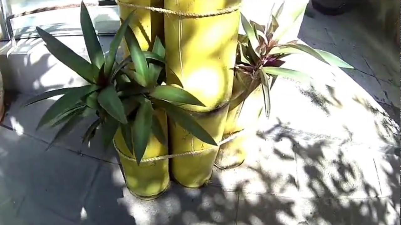 Decoracion macetas hechas de bambu youtube - Decoracion con macetas ...