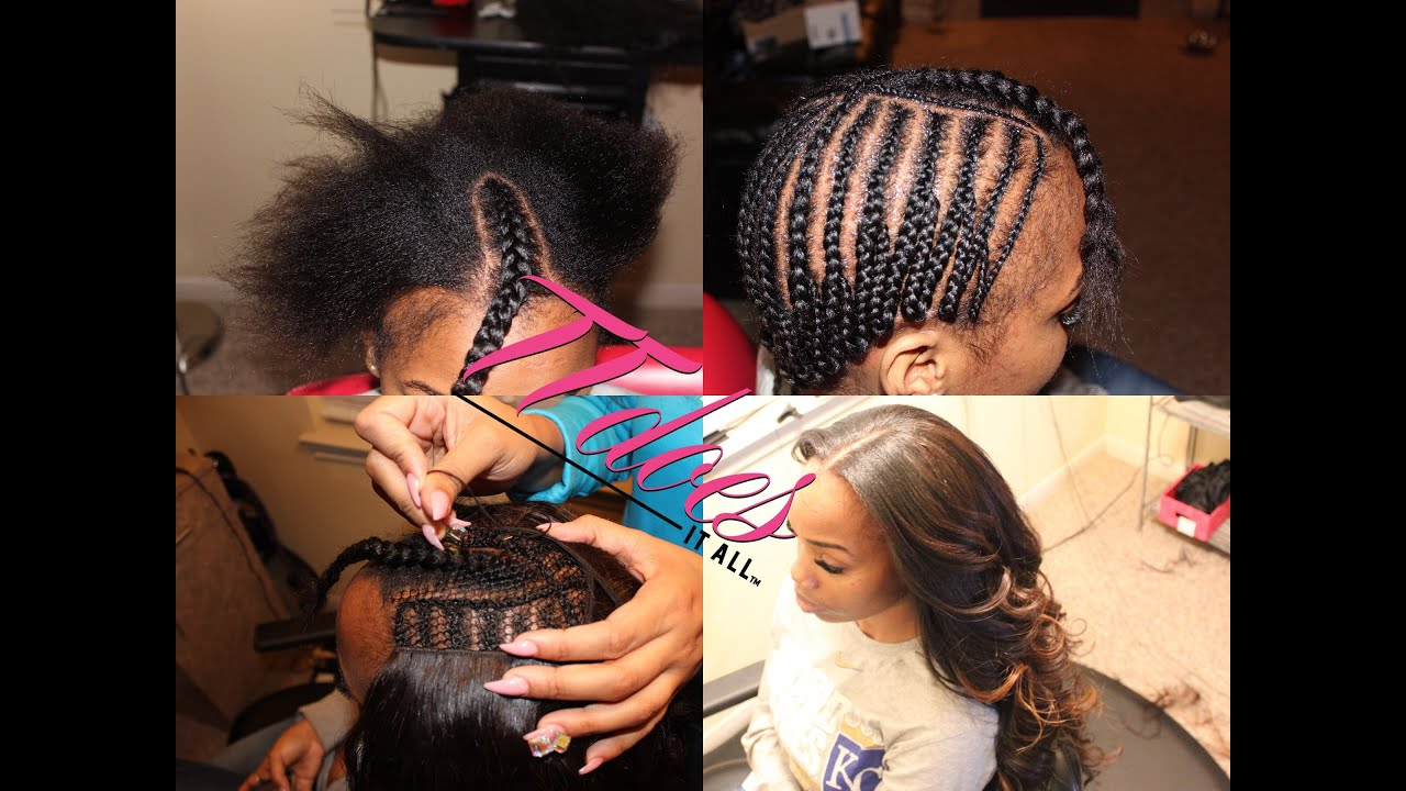 Middle Part Sew In Braid Pattern Magnificent Decorating