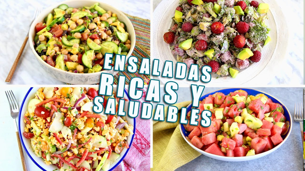 4 ensaladas ricas f ciles y saludables youtube for Comidas faciles y saludables